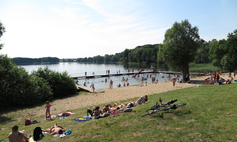 The urban beach at Okra Lake